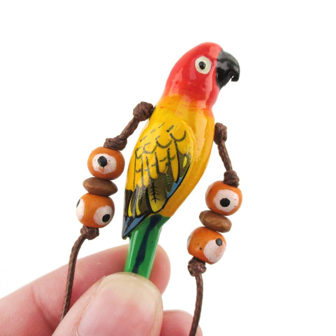 Handmade Sun Concure Bird Shaped Hand Painted Whistle Pendant Necklace