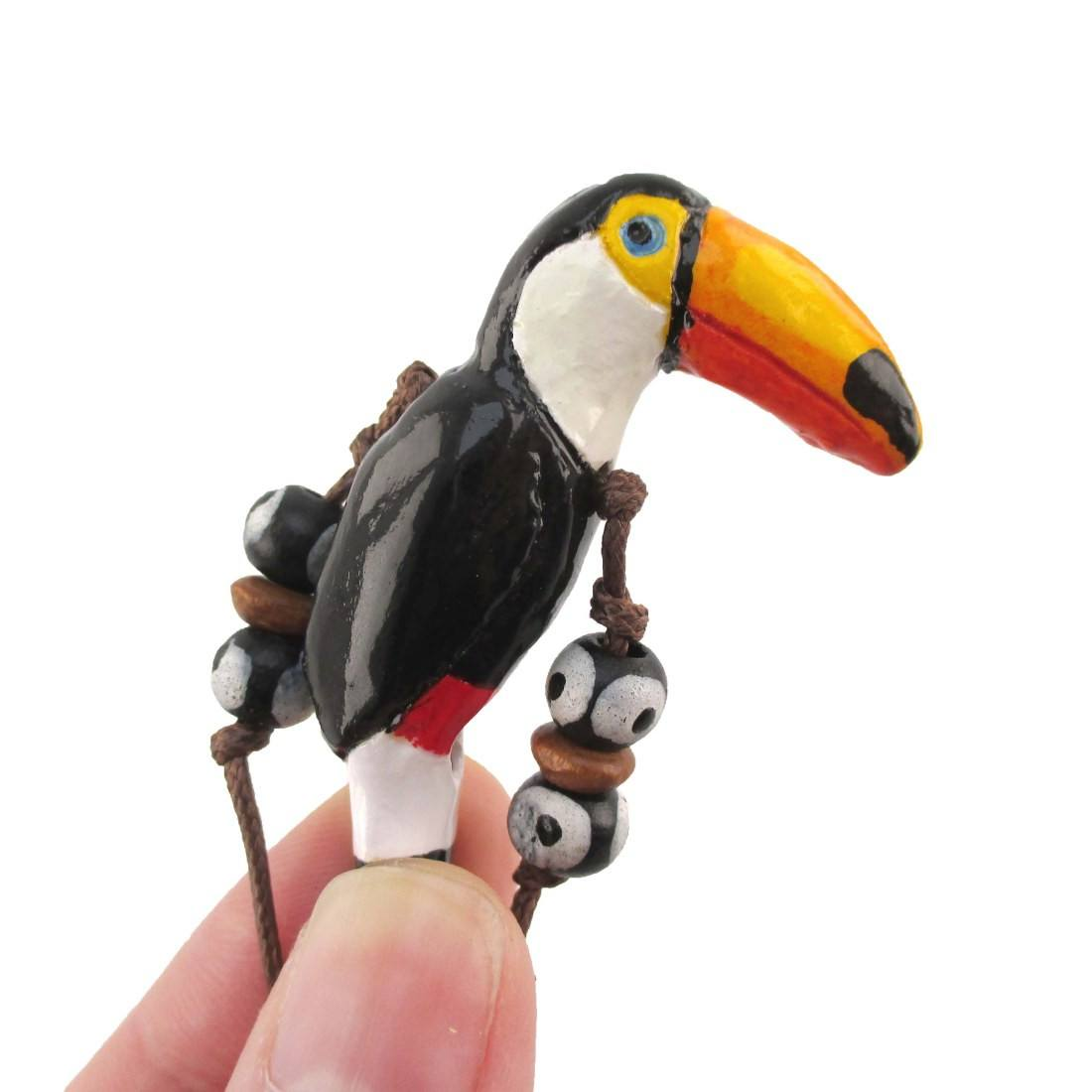 Handmade Toco Toucan Bird Shaped Hand Painted Whistle Pendant Necklace