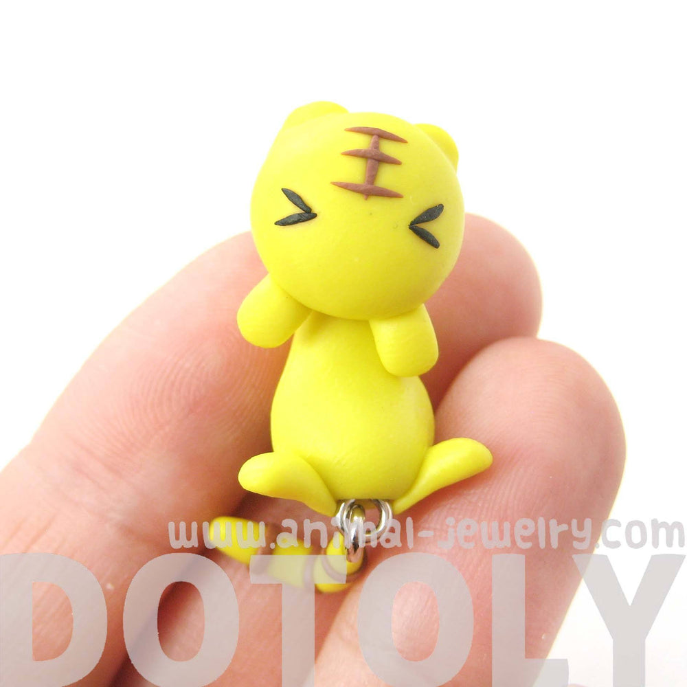 handmade-yellow-kitty-cat-animal-fake-gauge-two-part-stud-earring-dotoly