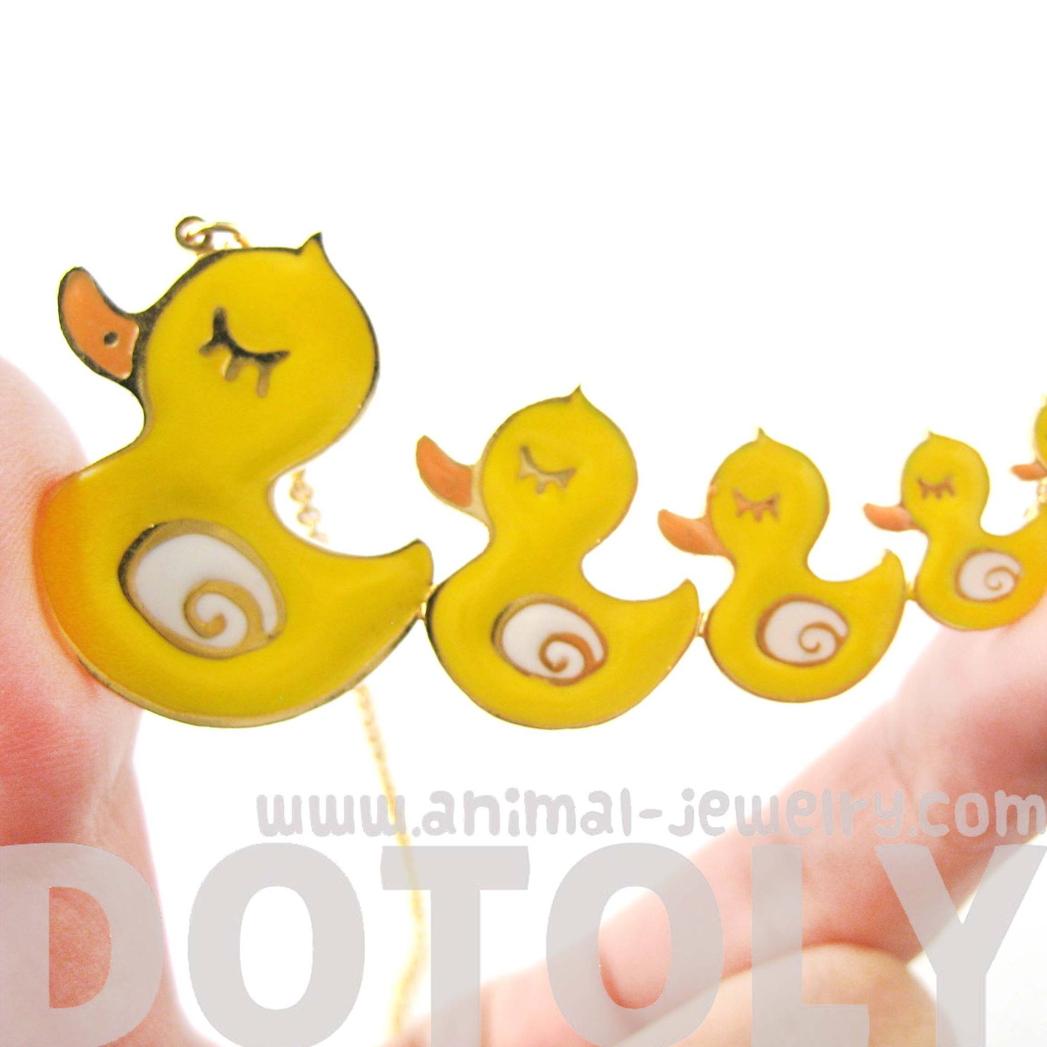 handmade-yellow-rubber-ducky-family-shaped-animal-pendant-necklace-limited-edition