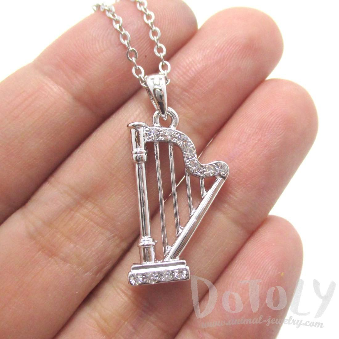 Harp Musical Instrument Shape Rhinestone Charm Necklace