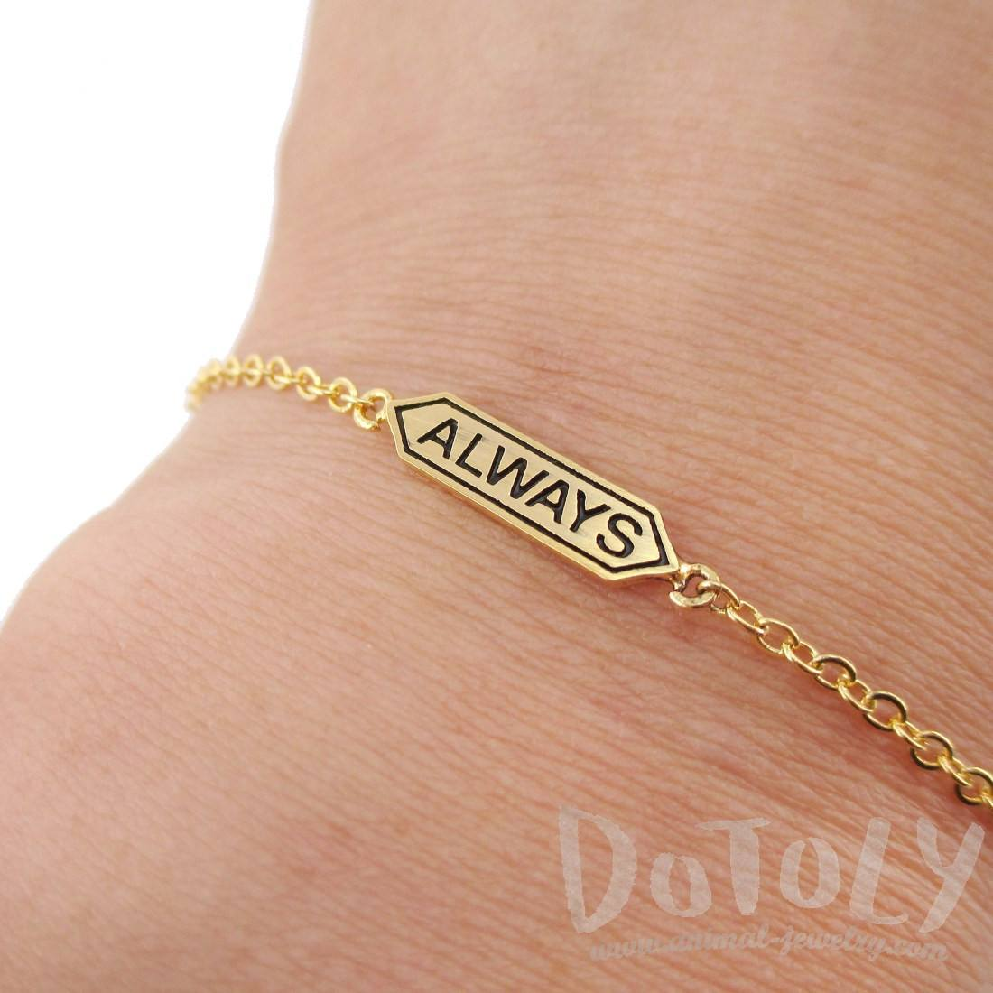 "Harry Potter Snape and Lily Remembrance ""Always"" Gold Charm Bracelet"