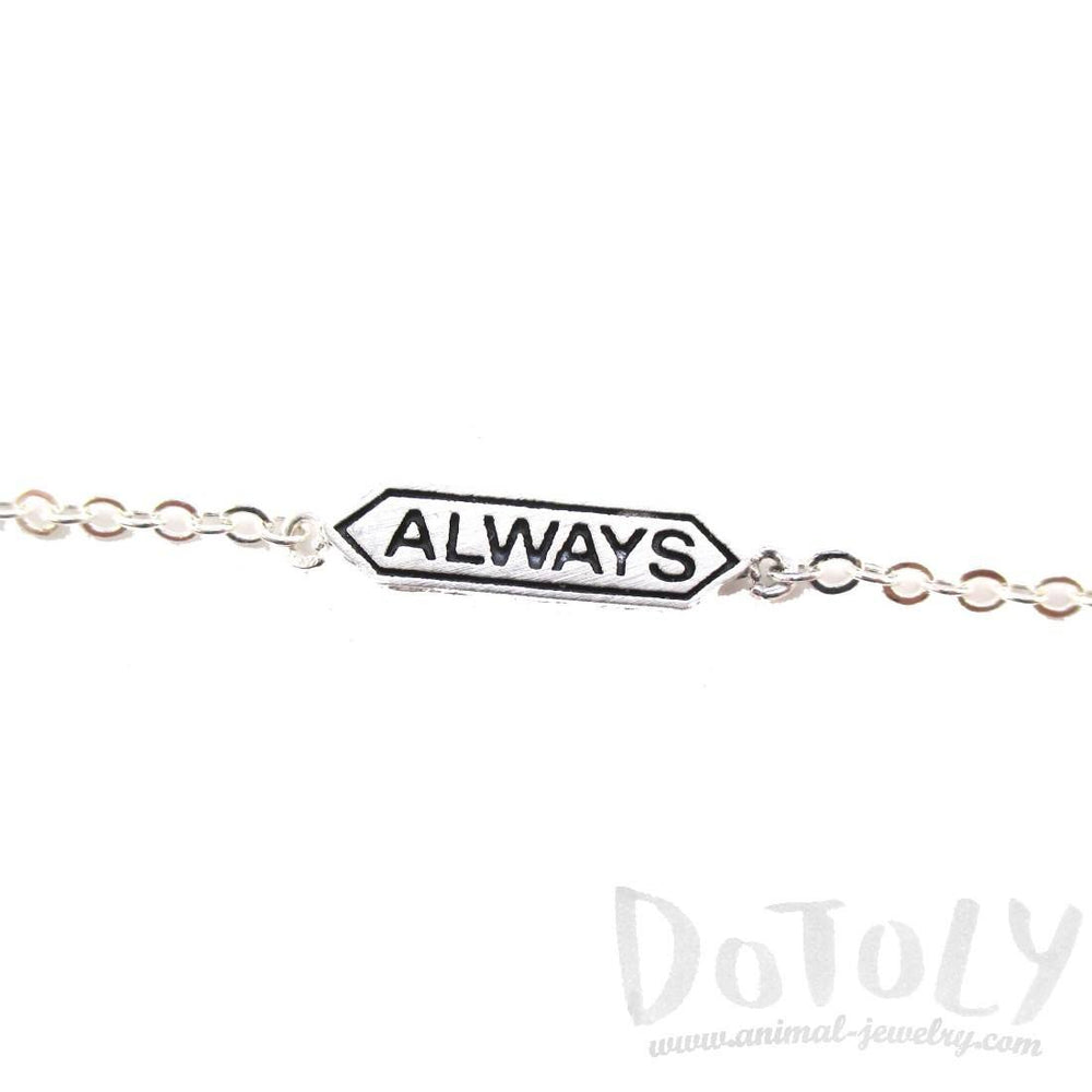 "Harry Potter Themed ""Always"" Snape and Lily Charm Bracelet in Silver"