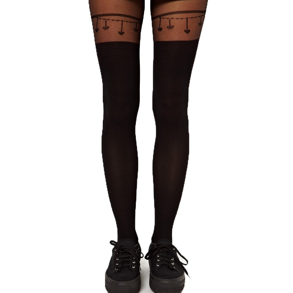 Heart and Chains Faux Thigh High Garter Sheer Tights for Women | DOTOLYHeart and Chains Faux Thigh High Garter Sheer Tights for Women | DOTOLY