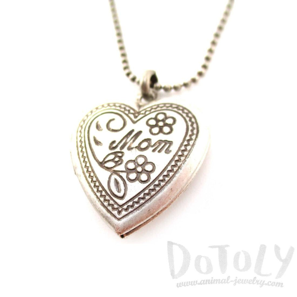 Heart Shaped Engraved Mom Floral Mothers Day Locket Necklace in Silver