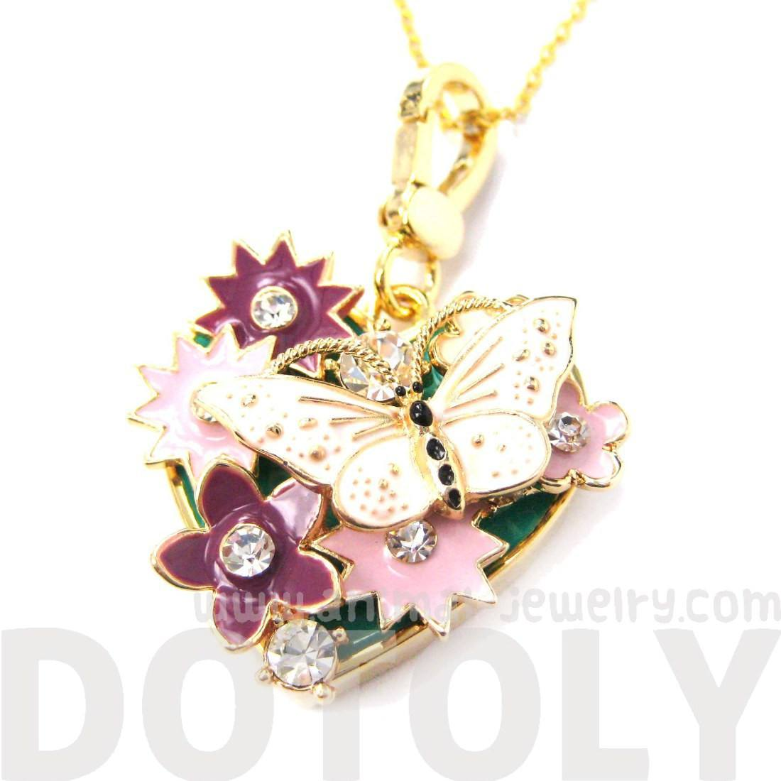 Heart Shaped Floral and Butterfly Pendant Necklace with Rhinestones