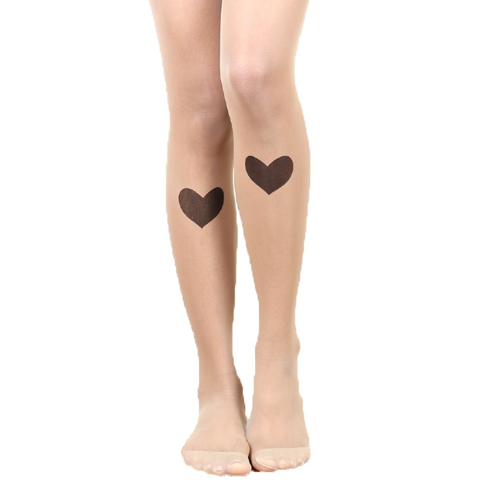 Heart Shaped Knee Patch Sheer Nude Tattoo Tights for Women