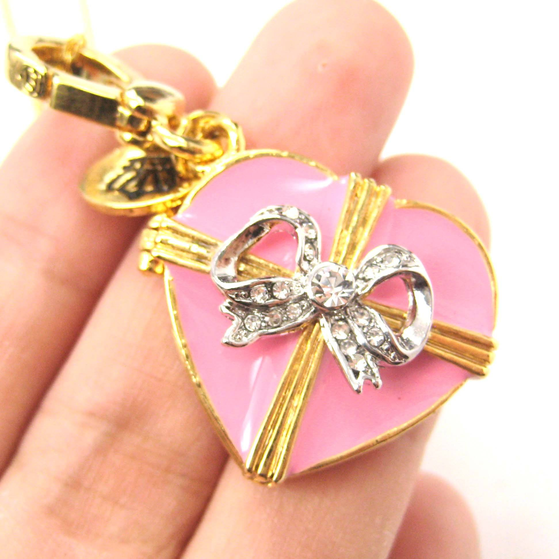 Heart Shaped Ribbon Bow Love Themed Pendant Necklace | Limited Edition