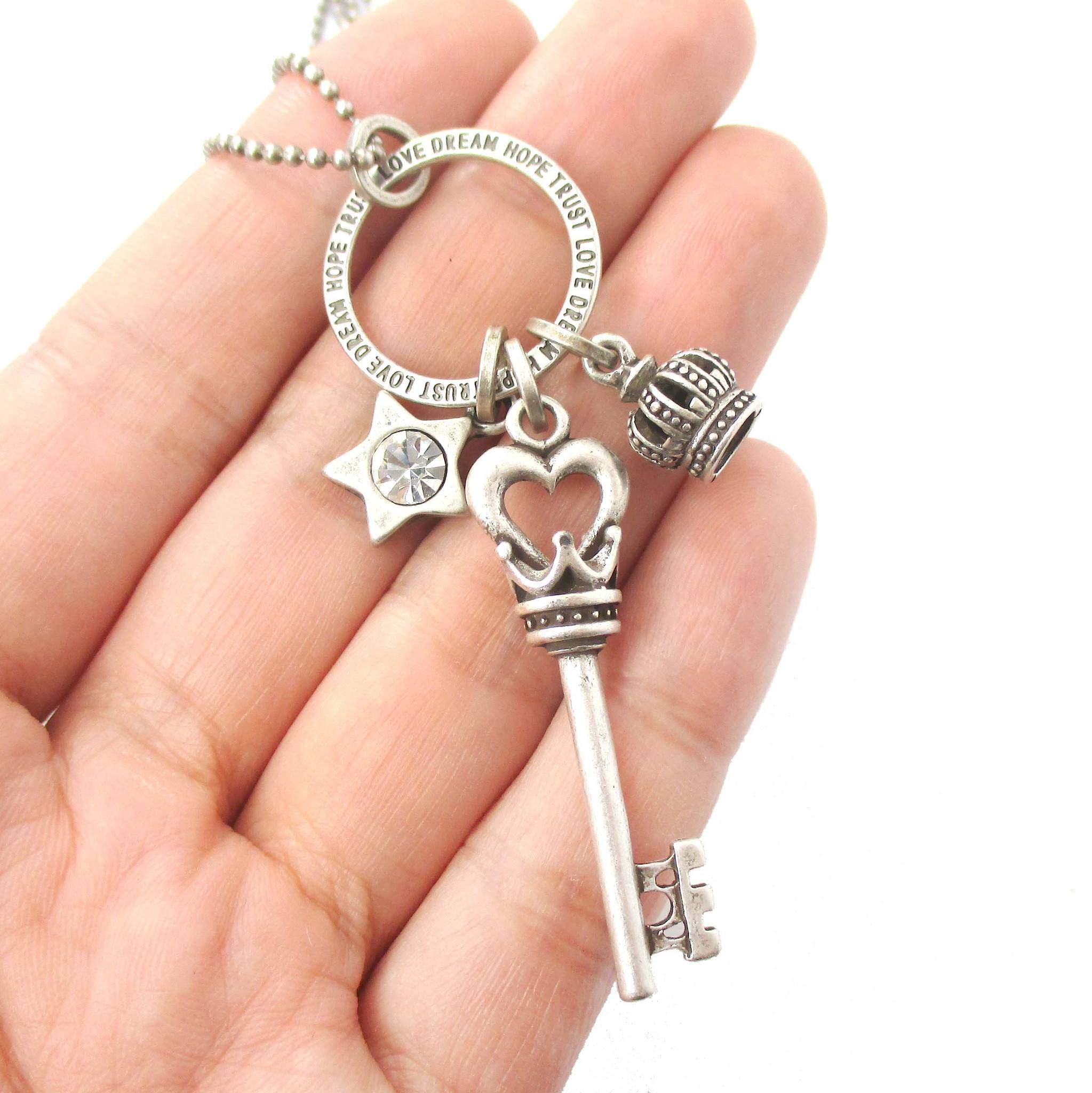 Heart Shaped Skeleton Key Crown and Star Charm Necklace in Silver