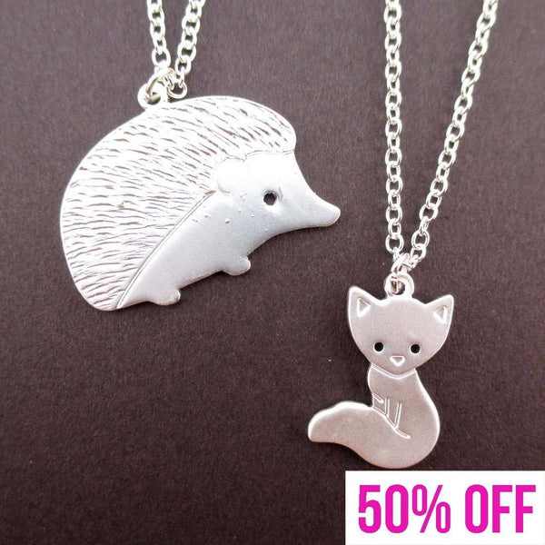Hedgehog and Baby Fox Shaped 2 Piece Necklace Set in Silver | DOTOLY