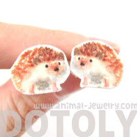 hedgehog-porcupine-animal-illustration-stud-earrings-handmade-shrink-plastic