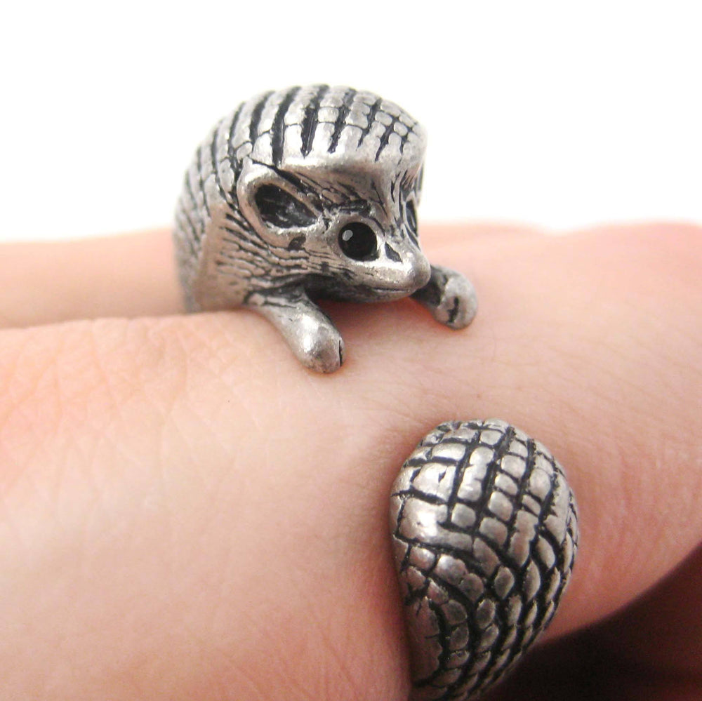 Hedgehog Porcupine Animal Wrap Ring in Silver Sizes 4 to 9 | DOTOLY