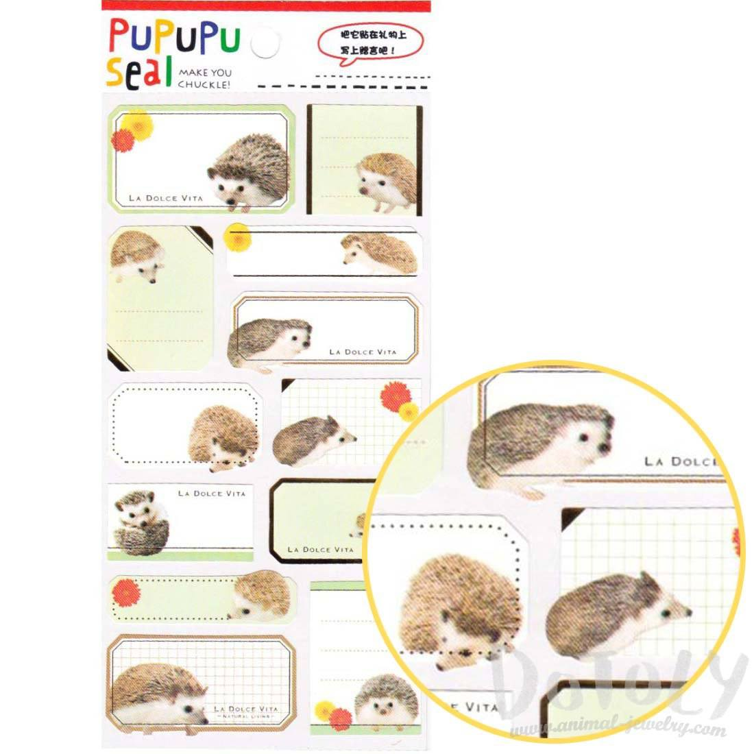 Hedgehog Porcupine Glossy Photo Label Index Stickers