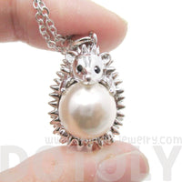 Hedgehog Porcupine Shaped Pendant Necklace in Silver