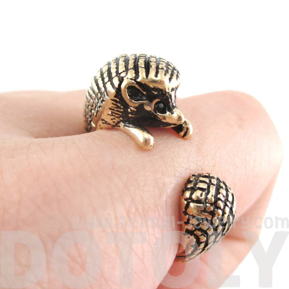 3D Hedgehog Porcupine Shaped Animal Ring in Shiny Gold