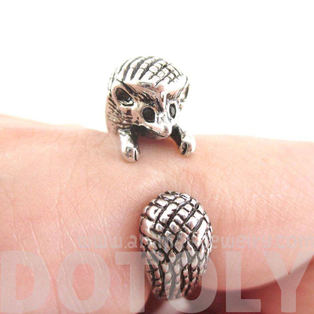 Hedgehog Porcupine Shaped Animal Ring in Shiny Silver