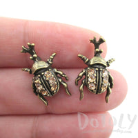 Rhino Beetle Shaped Rhinestone Stud Earrings in Brass