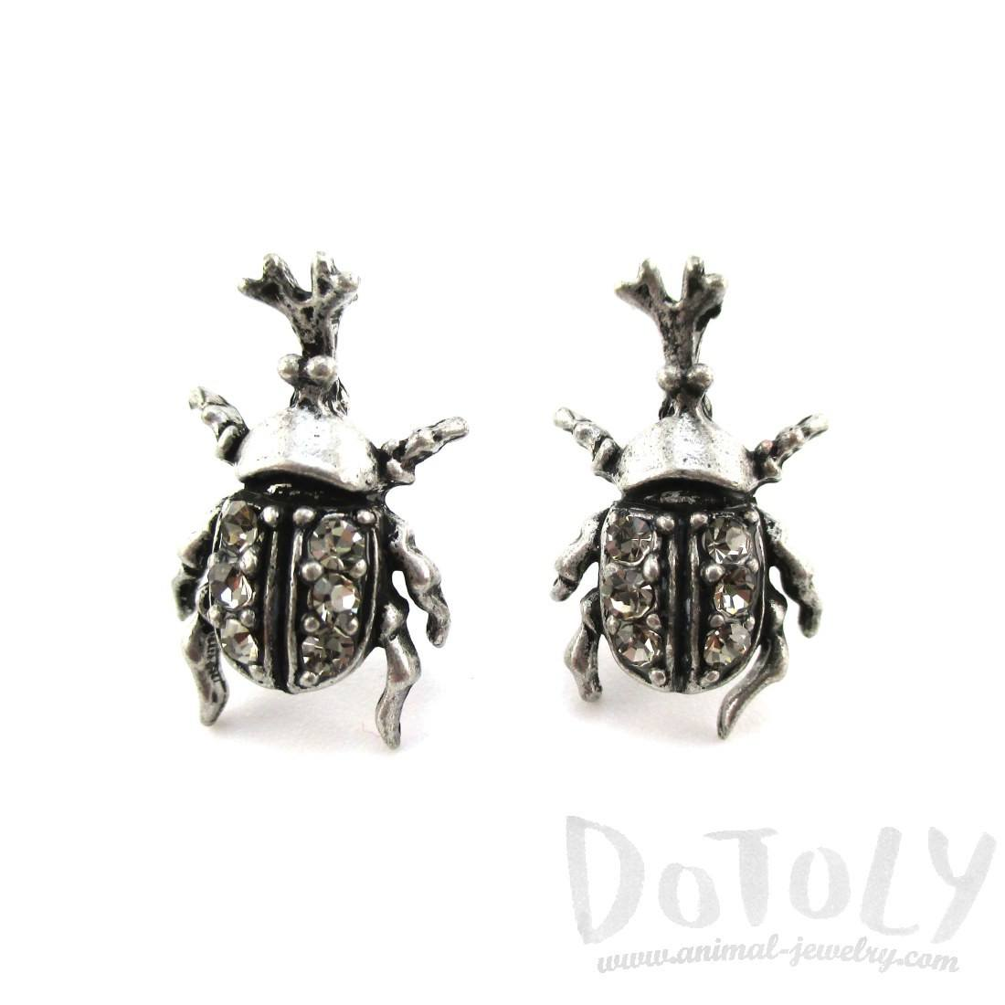 Rhino Beetle Shaped Rhinestone Stud Earrings in Silver