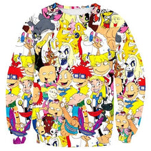 Arnold Rugrats Tom Jerry 90's Cartoon Print Sweatshirt