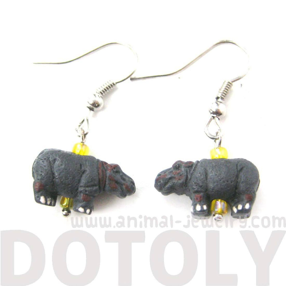 Hippo Hippopotamus Shaped Porcelain Animal Dangle Earrings | Handmade