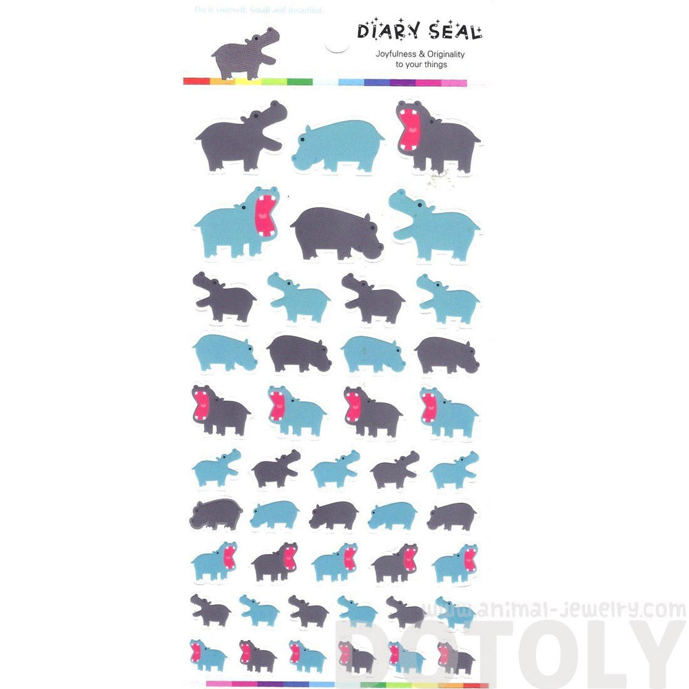 Hippopotamus Hippo Shaped Animal Themed Stickers for Scrapbooking and Decorating | DOTOLY