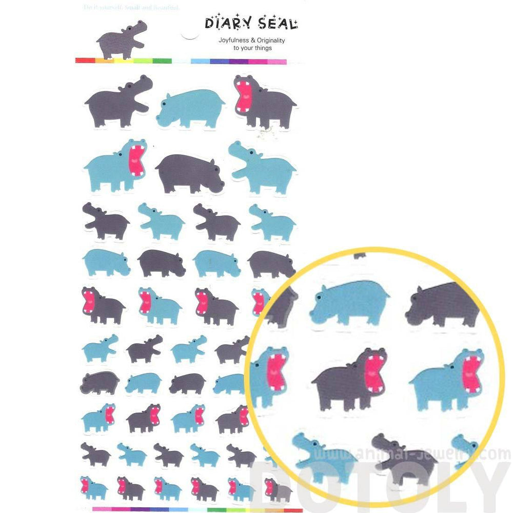 Hippopotamus Hippo Shaped Animal Themed Stickers for Scrapbooking