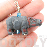 Hippopotamus Hippo Shaped Porcelain Ceramic Animal Pendant Necklace