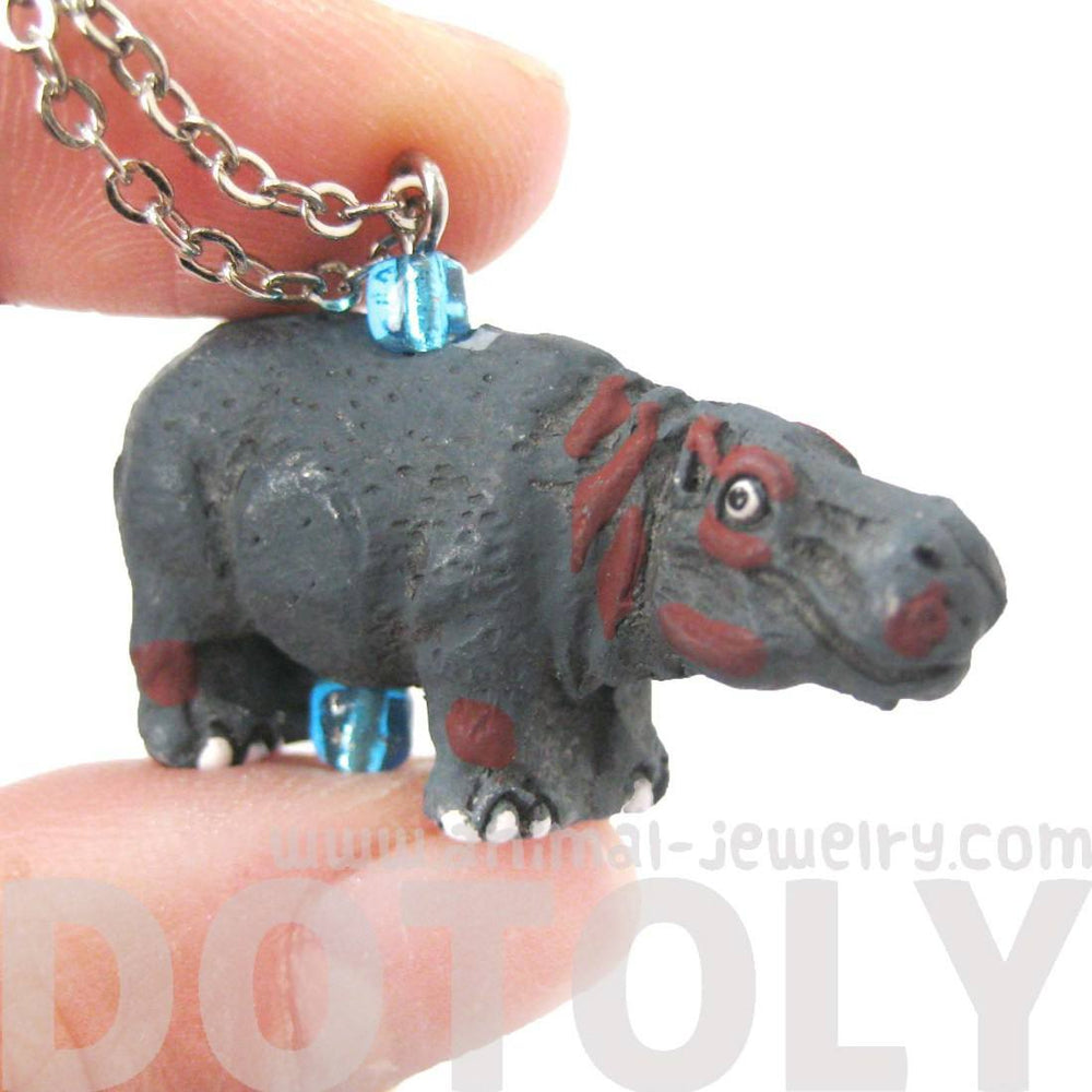 Hippopotamus Hippo Shaped Porcelain Ceramic Animal Pendant Necklace | Handmade | DOTOLY
