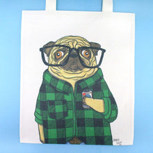 Hipster Pug Drinking Beer in Flannel Shirt Illustrated Canvas Tote Bag