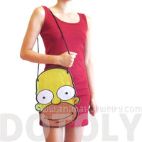 Homer Simpson Shaped Photo Print Vinyl Cross Body Bag