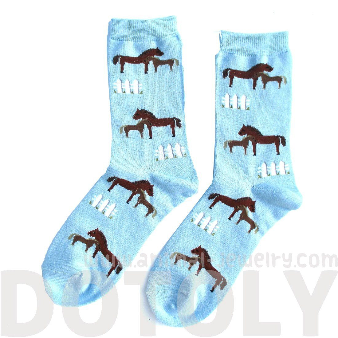 Horse Pony Novelty Print Calf High Socks for Women in Light Blue