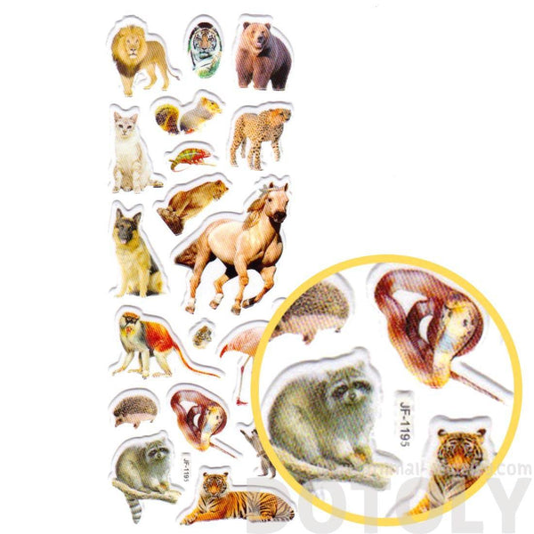 Horse Monkey Racoon Lion Dog Shaped Mixed Animal Themed Photo Stickers