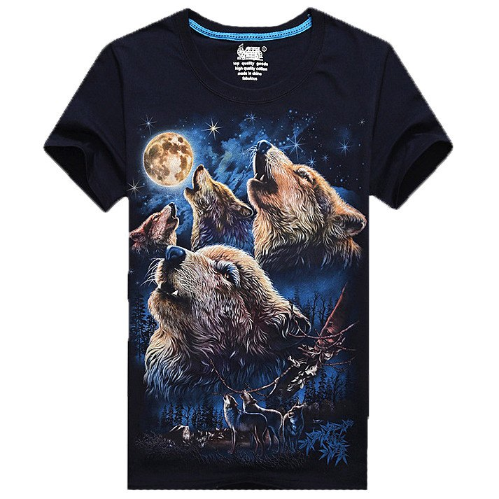 Howling Moon Wolves Forest Sky Graphic Tee in Navy