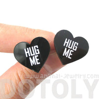Hug Me Candy Heart Sweethearts Shaped Laser Cut Stud Earrings in Black
