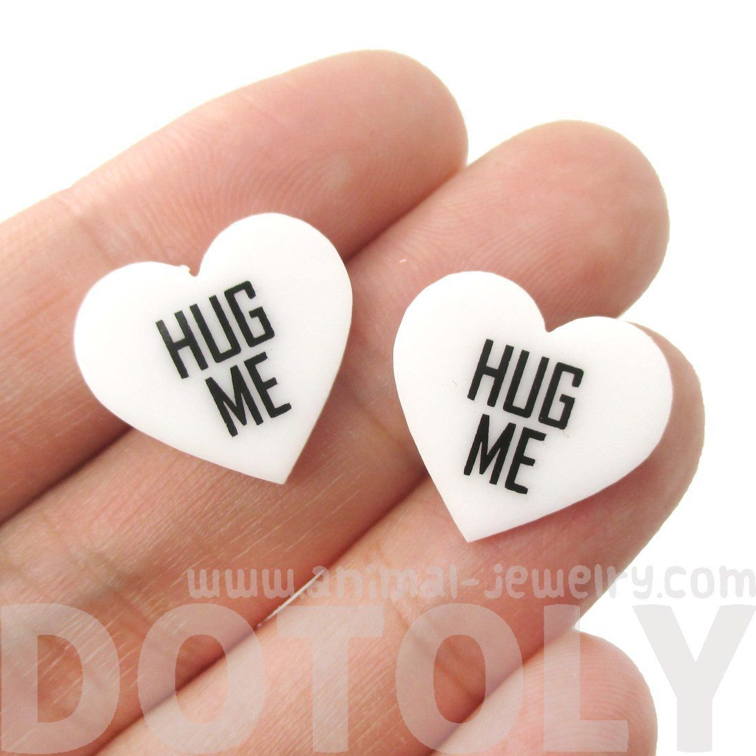 Hug Me Candy Heart Sweethearts Shaped Laser Cut Stud Earrings in White