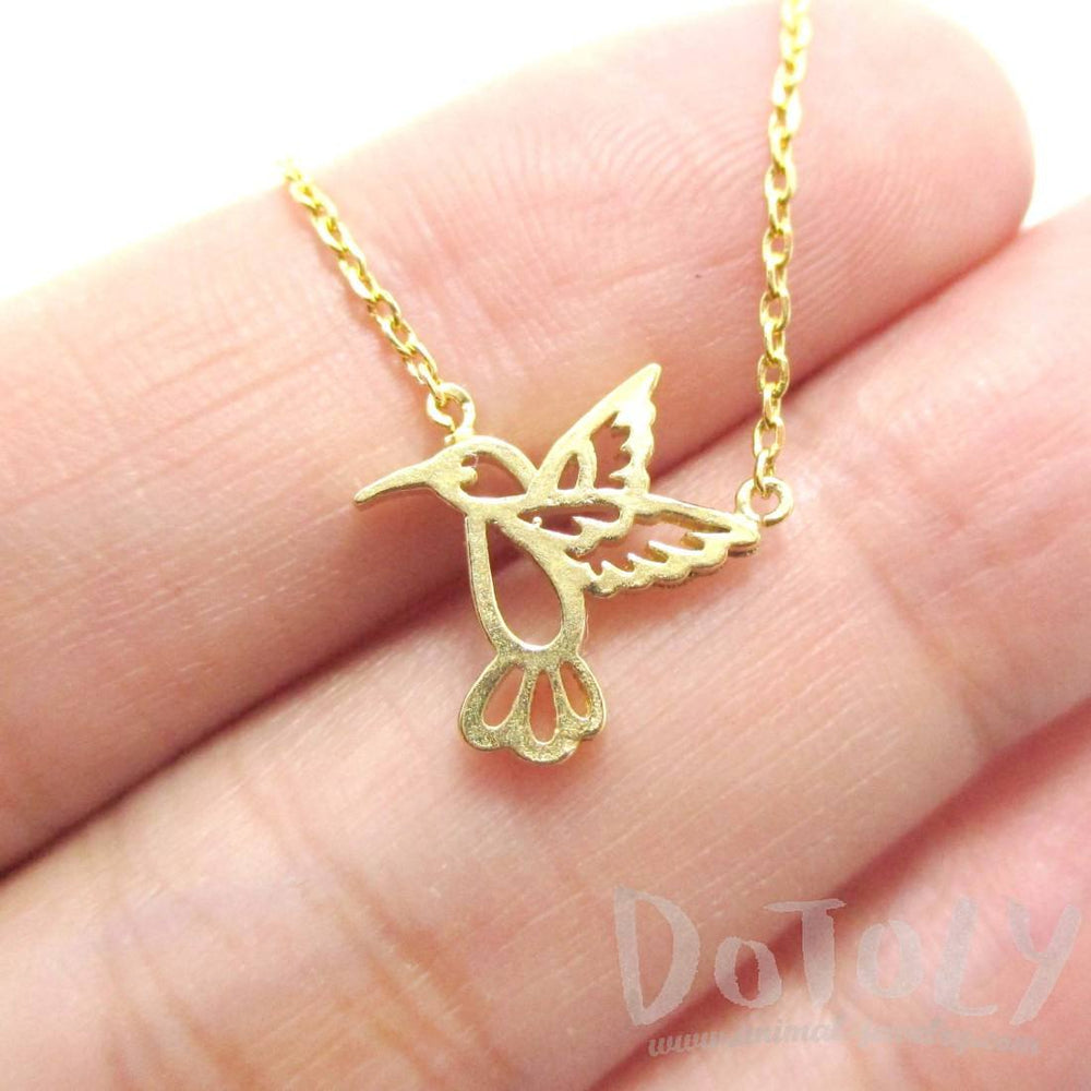 Hummingbird Outline Shaped Animal Charm Necklace