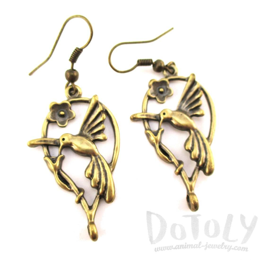 Hummingbird Shaped Charm Dangle Earrings in Brass | DOTOLY