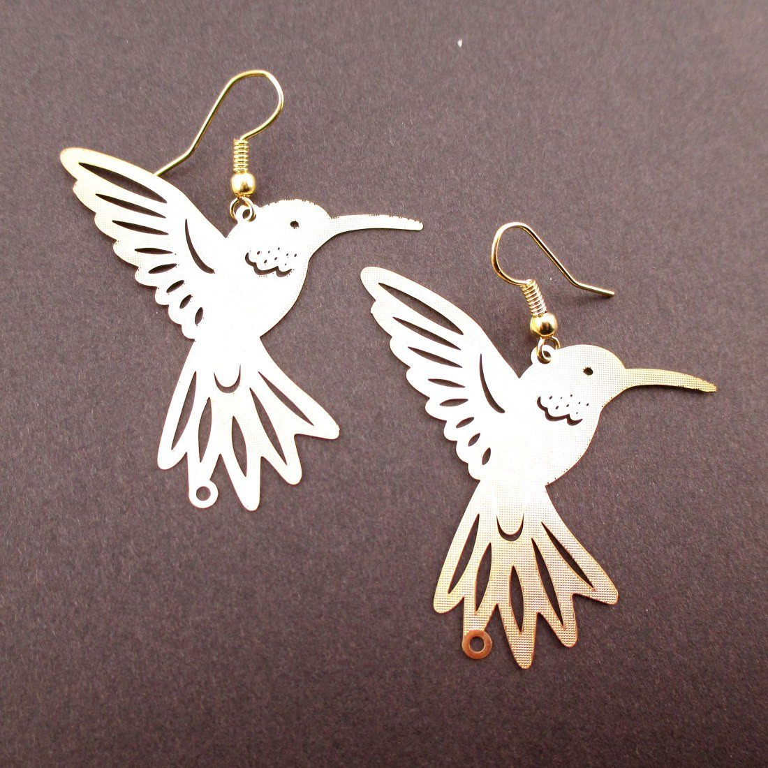 Hummingbird Silhouette Cut Out Shaped Dangle Earrings in Gold