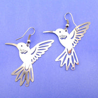 Hummingbird Silhouette Cut Out Shaped Dangle Earrings in Silver