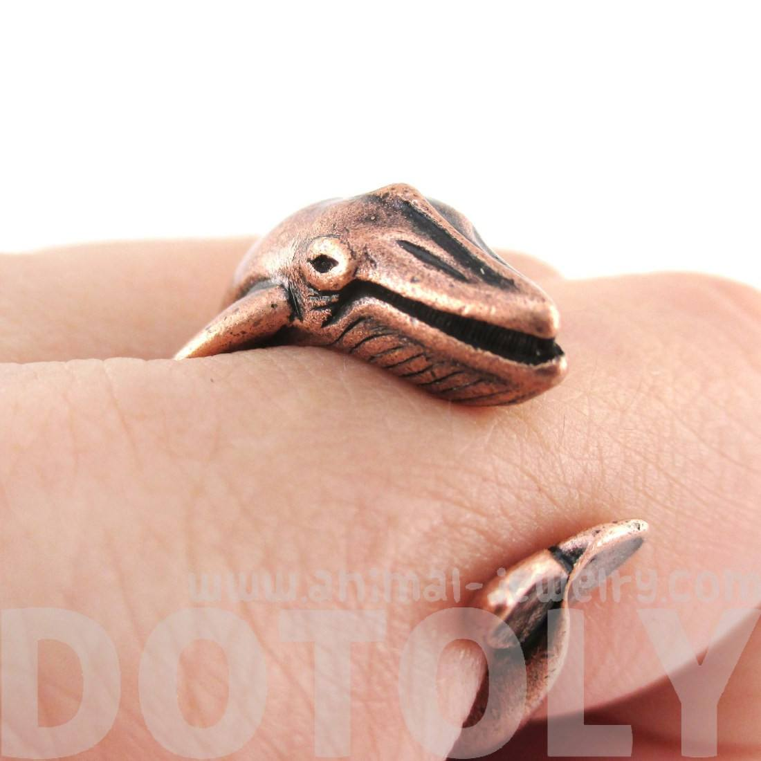 Humpback Whale Shaped Realistic Copper Animal Wrap Ring