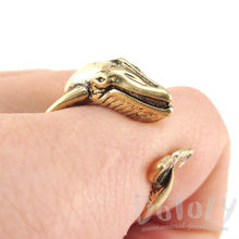 3D Humpback Whale Shaped Animal Wrap Ring in Shiny Gold