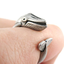 Humpback Whale Shaped Realistic Animal Ring in Silver