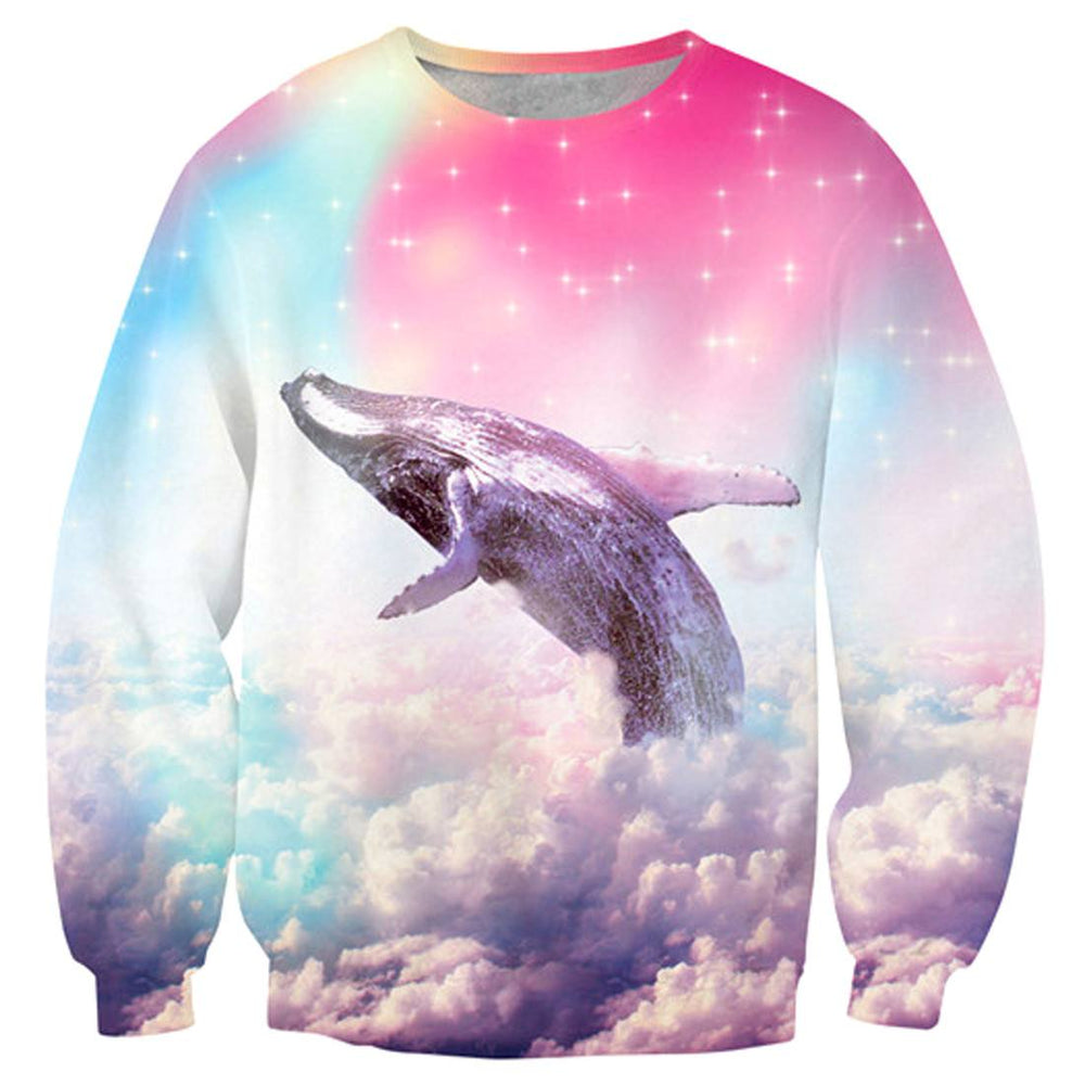 Humpback Whale Soaring Through A Rainbow Sky Sweater