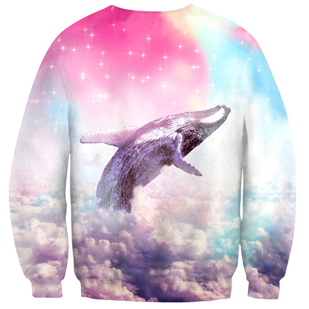 Humpback Whale Soaring Through A Rainbow Sky Print Pullover Sweater | DOTOLY