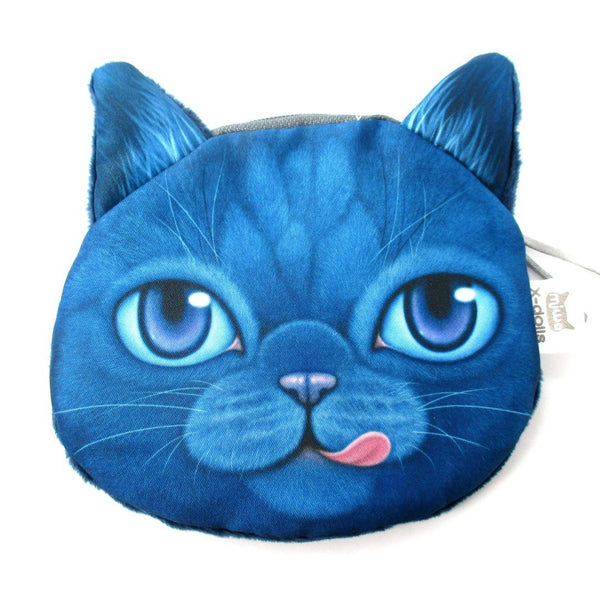 Hungry Kitty Cat Face Shaped Dark Blue Soft Fabric Zipper Coin Purse