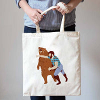 Hunter Punching Bear Print Natural Canvas Tote Shopper Bag | DOTOLY