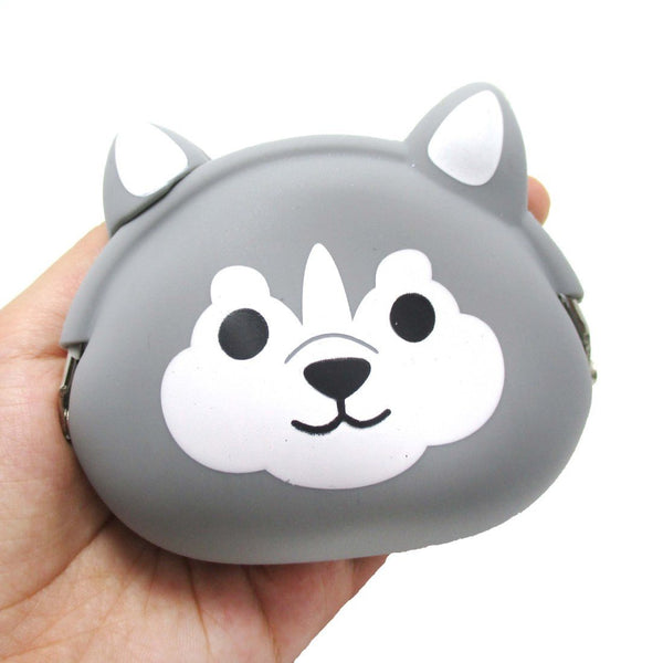 Husky Dog Face Shaped Mimi Pochi Animal Friends Silicone Clasp Coin Purse Pouch | DOTOLY