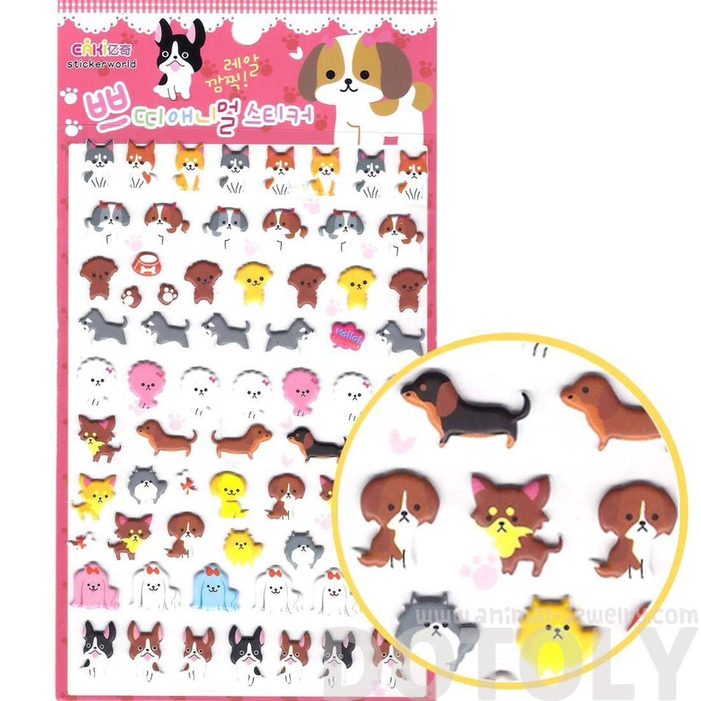 Husky Frenchie Dachshund Schnauzer Dog Shaped Animal Puffy Stickers