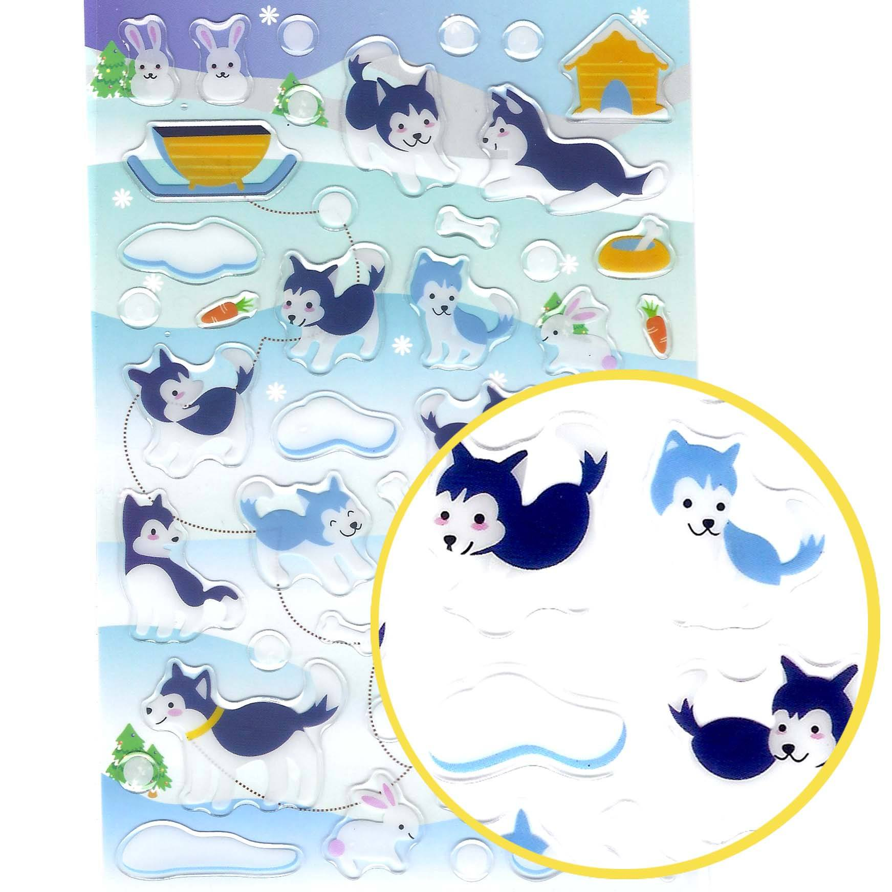 Siberian Husky Puppy Dog Illustrated Animal Shape Jelly Puffy Stickers
