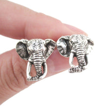 Hyper Realistic Elephant Face Shaped Stud Earrings in Silver | DOTOLY